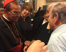 Cardinal Rosa Chavez with members of the Myers family